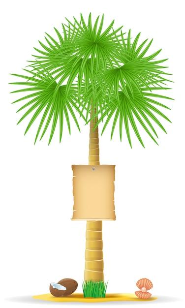 Palm met een papieren teken vector illustratie Premium Vector