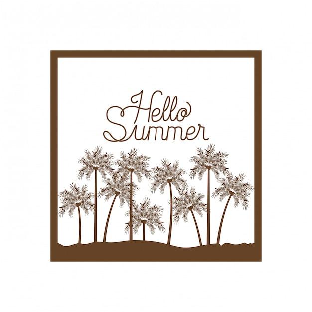 Palm met kokosnotensilhouet. hallo zomer Premium Vector