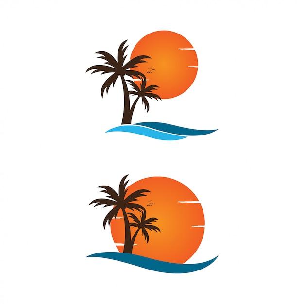 Palm op een grafisch het ontwerpmalplaatje van het strandembleem Premium Vector