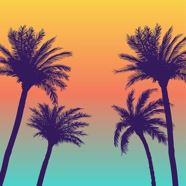 Palmbomen achtergrond Premium Vector