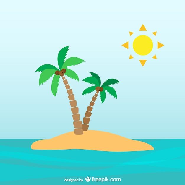 Palmbomen op onbewoond eiland Gratis Vector