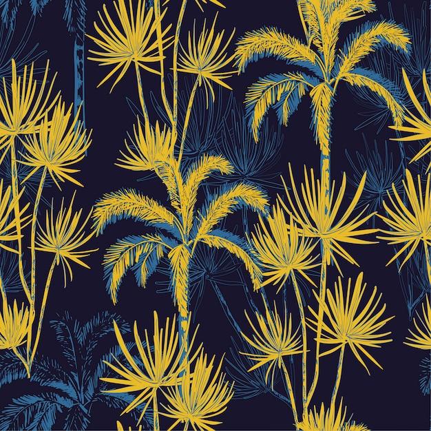Palmbomen van de de lijnschets van de de zomernacht de tropische hand getrokken Premium Vector