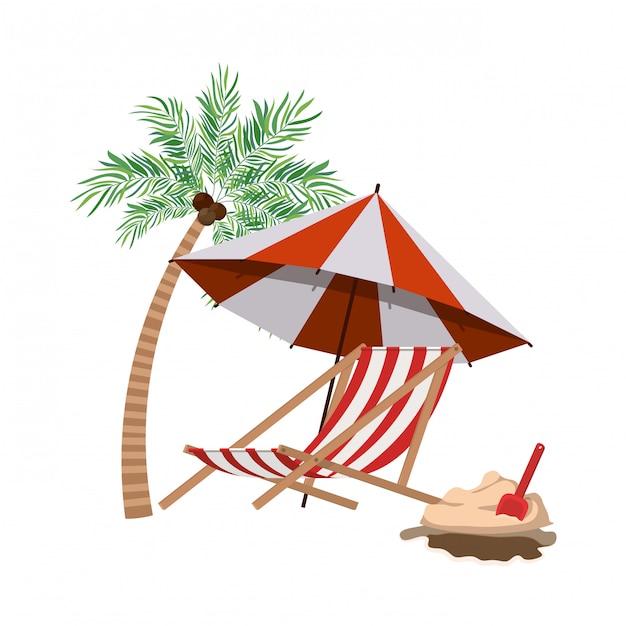 Palmboom met gestreepte strandparaplu Gratis Vector