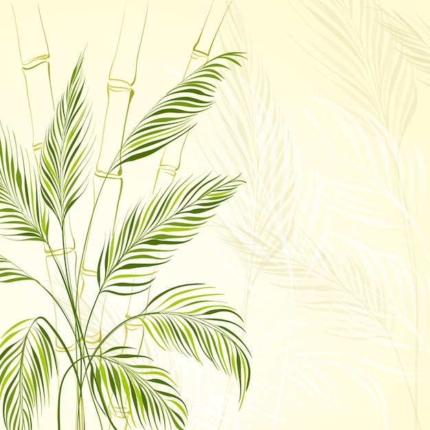 Palmboom over bamboebos Gratis Vector