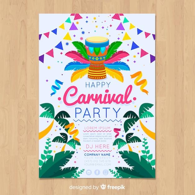 Palmen braziliaanse carnaval partij poster Gratis Vector