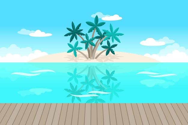 Palmen en oceaanachtergrond voor videocommunicatie Gratis Vector