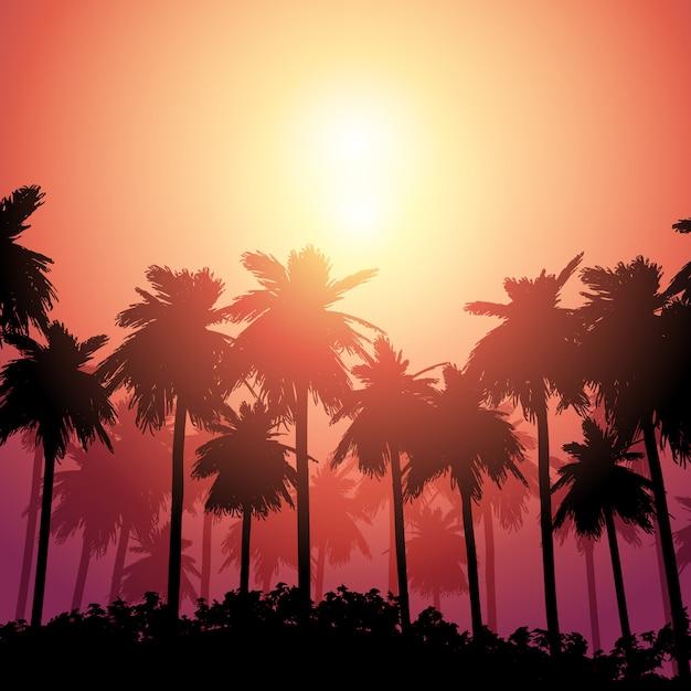 Palmlandschap tegen zonsonderganghemel Gratis Vector