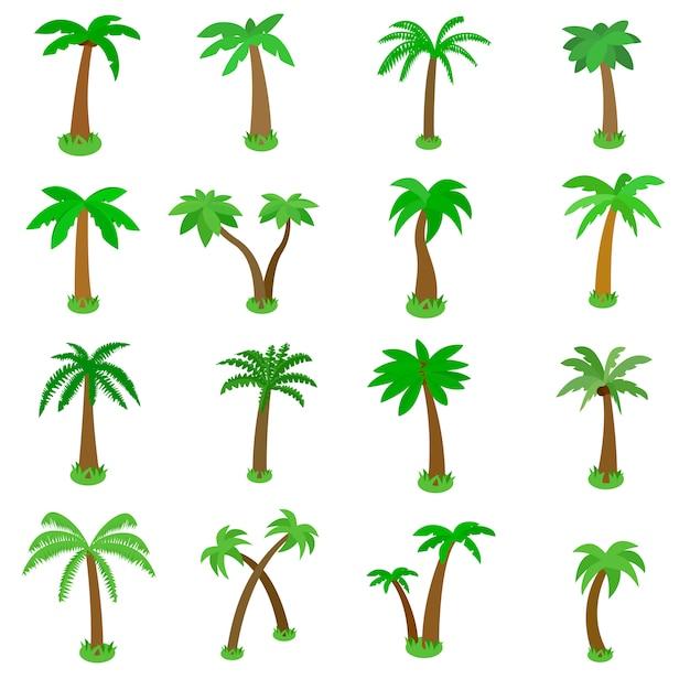 Palmpictogrammen in isometrische die 3d stijl worden op wit wordt geïsoleerd geplaatst dat Premium Vector