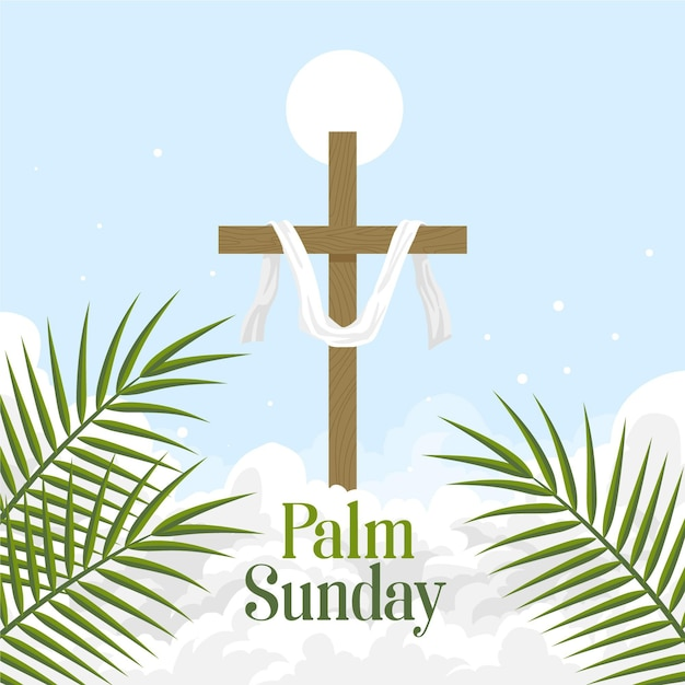 Palmzondag illustratie met kruis Gratis Vector