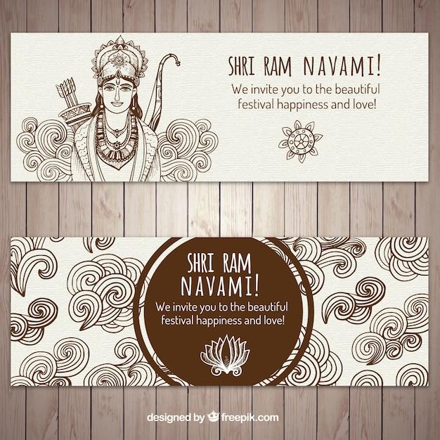 Pamnavmi banners met de hand getekende elementen Gratis Vector
