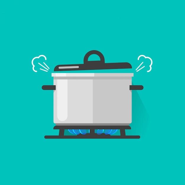 Pan met stoom op gasfornuisbrand die sommige kokende geïsoleerde voedsel vectorillustratie koken Premium Vector