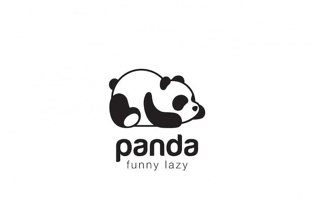 Panda bear silhouet logo ontwerpsjabloon. grappige luie dier logo concept pictogram. Gratis Vector