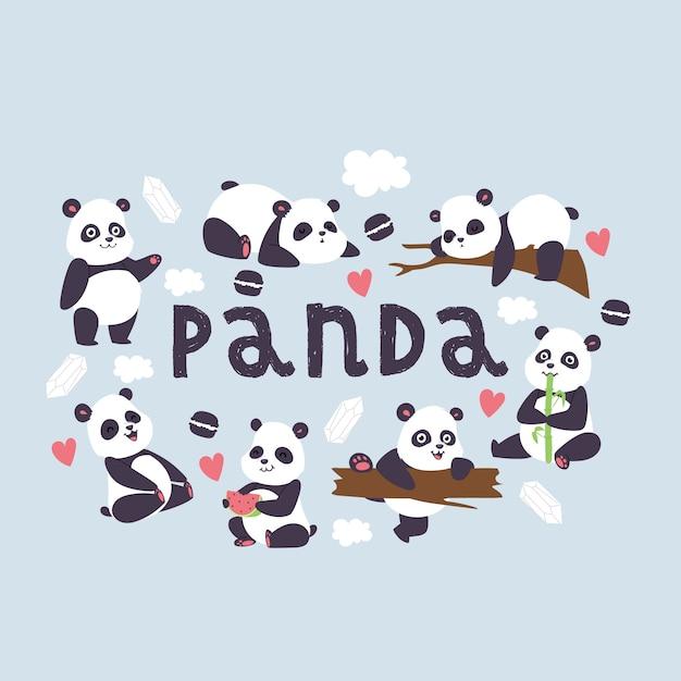 Panda bearcat chinees draagt met bamboe in liefde speel of slaap illustratieachtergrond Premium Vector