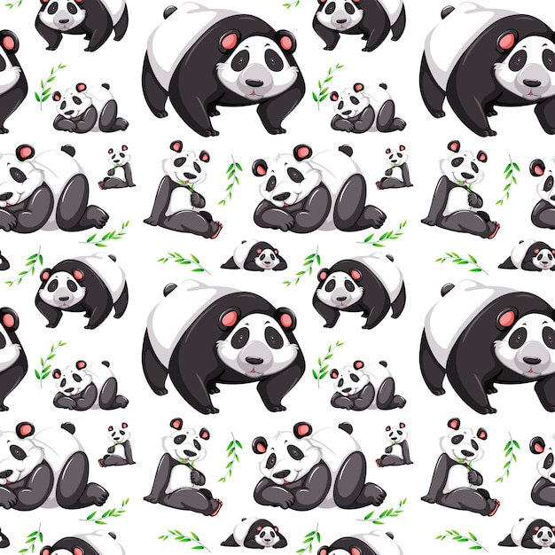 Panda beer naadloze achtergrond Gratis Vector
