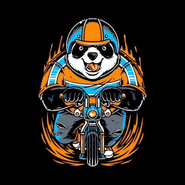 Panda die een helm draagt die een kleine fiets speelt Premium Vector