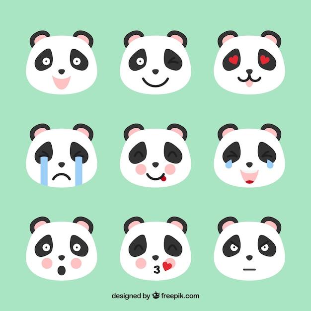Panda emoticons met roze informatie Gratis Vector