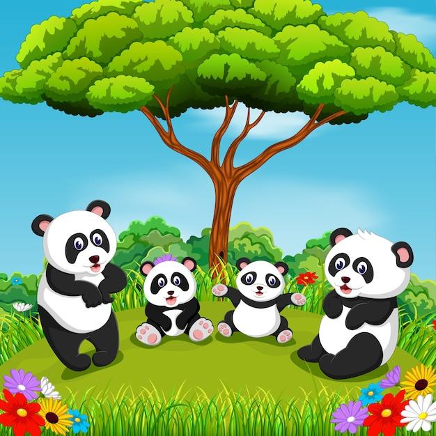 Panda-familie met mooie omgeving Premium Vector
