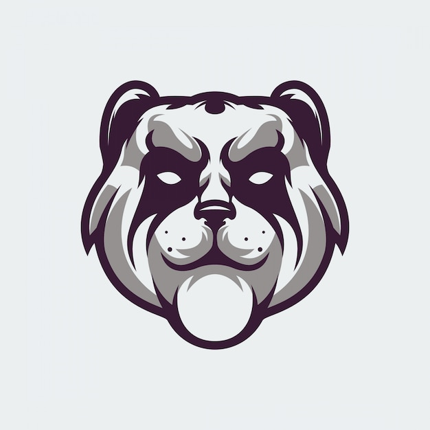 Panda gezicht logo Premium Vector