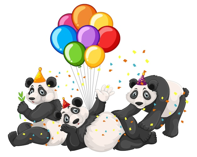 Panda groep in feestthema geïsoleerd op een witte achtergrond Gratis Vector