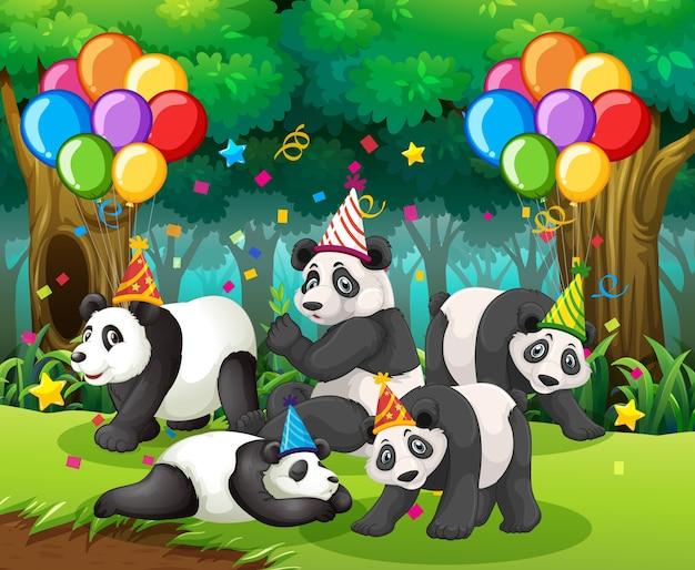 Panda-groep op een feestje in het bos Gratis Vector