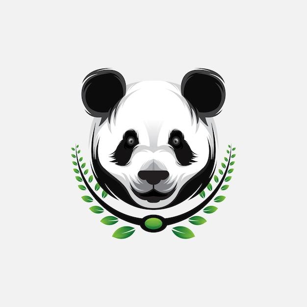 Panda hoofd esport logo ontwerp Premium Vector