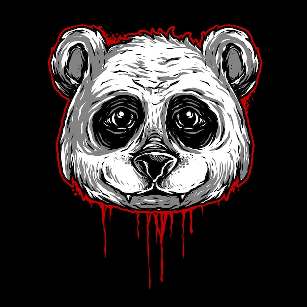 Panda hoofd illustratie Premium Vector