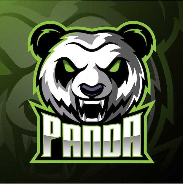 Panda hoofd mascotte logo Premium Vector