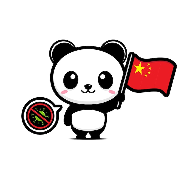 Panda houdt de chinese vlag tegen die coronavirus verbiedt Premium Vector