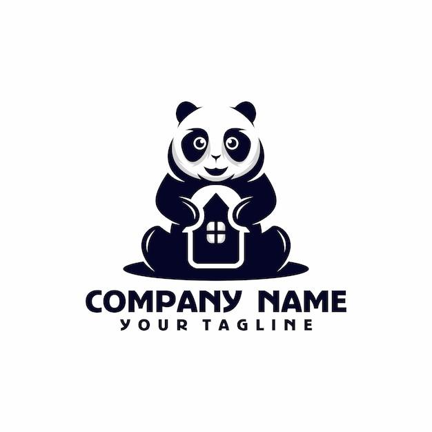 Panda huis logo sjabloon vector Premium Vector