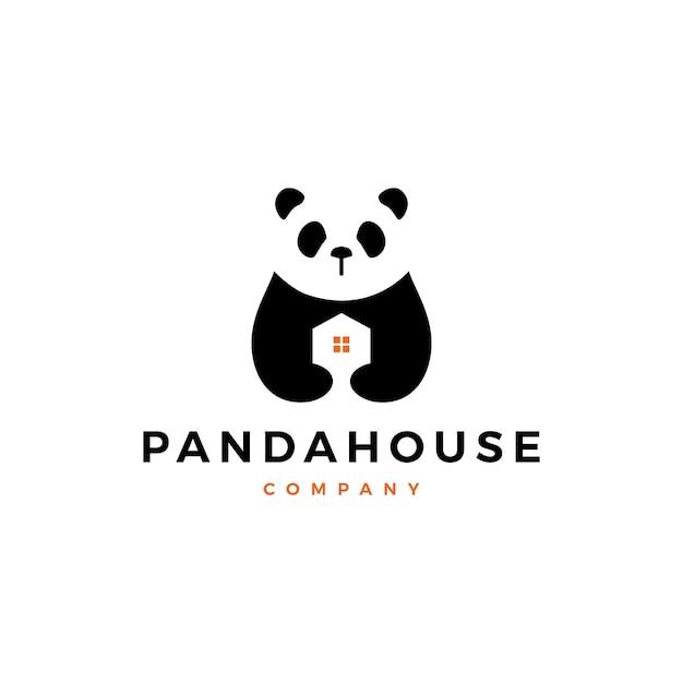 Panda huis logo vector pictogram illustratie Premium Vector