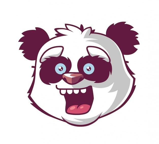 Panda lacht. hoofd van het personage. Premium Vector