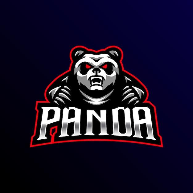 Panda mascotte logo esport gaming Premium Vector