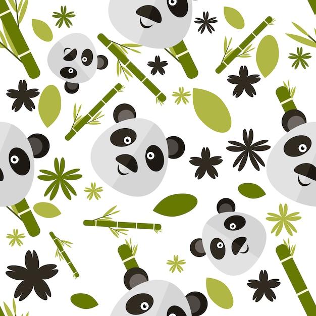 Panda patroon achtergrond Gratis Vector