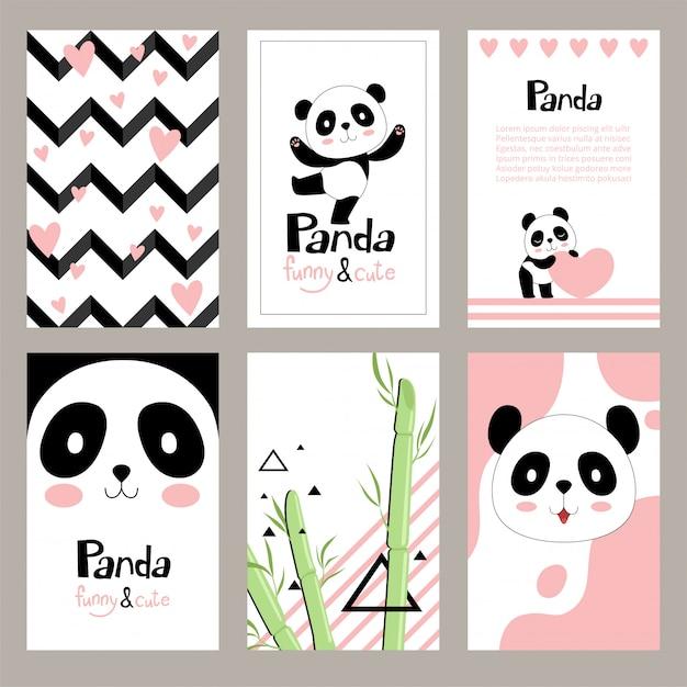 Panda's uitnodigingskaarten. pasgeboren schattige dieren van chinese beer vakantie plakkaat sjablonen voor kinderen Premium Vector