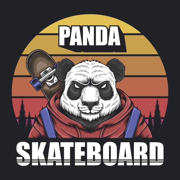Panda skateboard retro Premium Vector