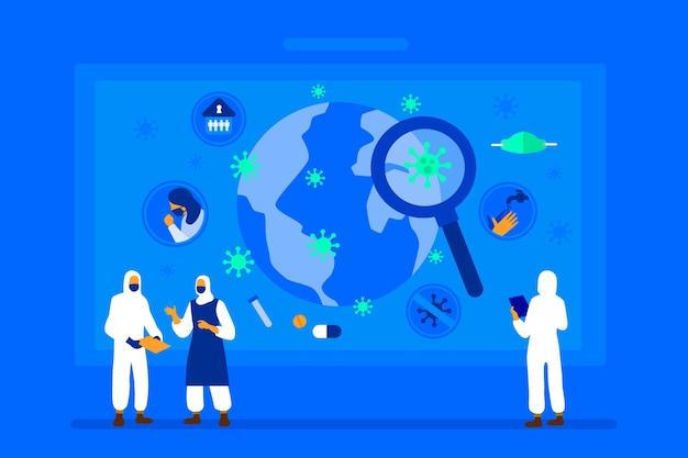 Pandemic kaart concept Gratis Vector