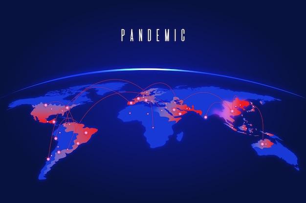 Pandemisch concept met kaart Premium Vector