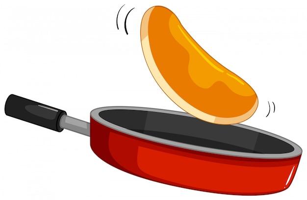 Pannenkoek flipt op de pan Gratis Vector