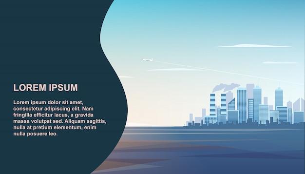 Panorama moderne industriële stad Premium Vector
