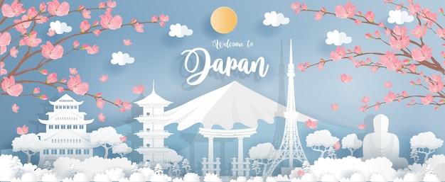 Panorama van de wereldberoemde bezienswaardigheden van japan Premium Vector