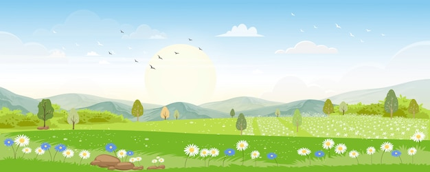Panoramalandschap in de zomer met honingbij die stuifmeel op bloemen in de ochtend verzamelen Premium Vector
