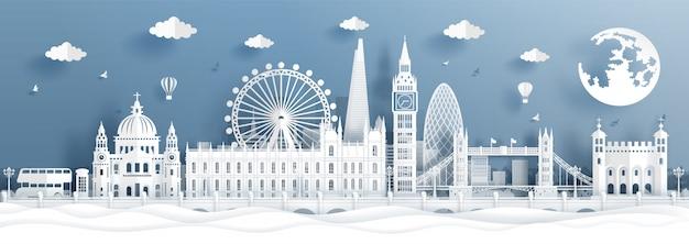 Panoramaprentbriefkaar en reisaffiche van wereldberoemde oriëntatiepunten van londen, engeland in document besnoeiingsstijl Premium Vector