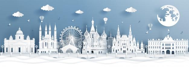 Panoramaprentbriefkaar en reisaffiche van wereldberoemde oriëntatiepunten van moskou, rusland Premium Vector