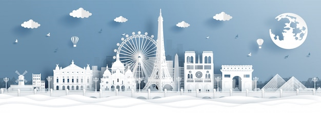 Panoramaprentbriefkaar en reisaffiche van wereldberoemde oriëntatiepunten van parijs, frankrijk Premium Vector