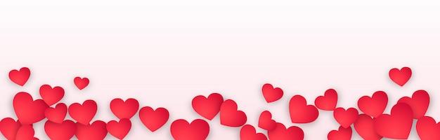 Panoramische valentijnsdagbanner Gratis Vector
