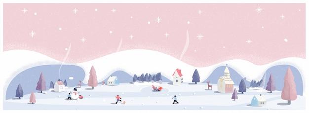 Panoramische vectorillustratie van winter wonderland in roze pastel kleuren. het schattige kleine dorp op eerste kerstdag met sneeuw. kinderen, sneeuwbal en sneeuwpop. minimaal winterlandschap. Premium Vector