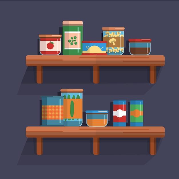 Pantry illustratie met plank Gratis Vector