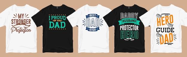 Papa citeert typografie t-shirt ontwerpen bundel belettering Premium Vector