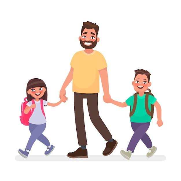 Papa gaat met kinderen naar school. lagere schoolkinderen en vader samen Premium Vector