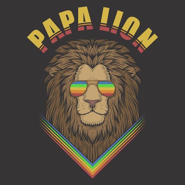 Papa leeuw met bril Premium Vector